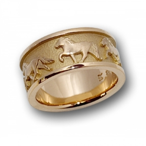 Bague cheval islandais en or jaune 750